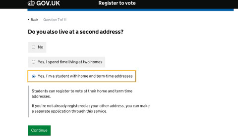 Students can register at home and uni. Pic: gov.co.uk