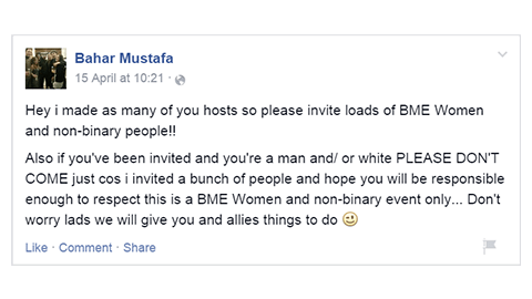 "Mustafa's Facebook post: if ""you're a man and/or white please don't come"". Pic: The tap"