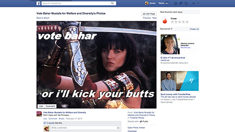 An image of fictional warrior Xena, on Mustafa's Facebook campaign page. Pic: Facebook