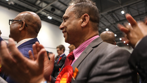 Labour supporters cheer their party's result in Stepney Green. Pic: Kara Fox