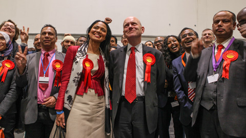 John Biggs celebrates with party members and supporters after his mayoral win. Pic: Kara Fox