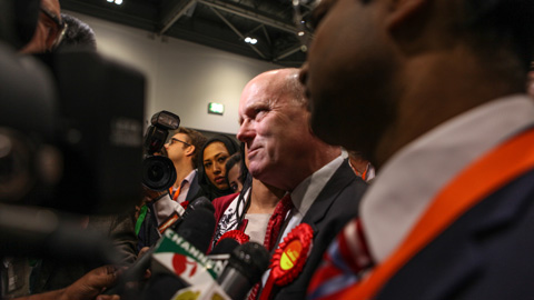 New mayor of Tower Hamlets John Biggs speaks to the press after his acceptance speech. Pic: Kara Fox