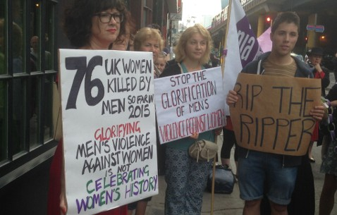 Protestors carried signs denigrating the glorification of violence toward women Pic: Harriet Salisbury