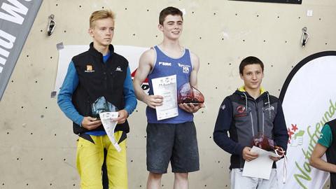 Jim Pope, centre, awarded for his win in Austria