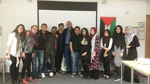 Yousef Awad meets with Palestinian Society at Queen Mary's. Pic: THJFA.