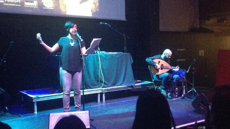 Rafeef Ziadah performing spoken word. Pic: Jo Turner