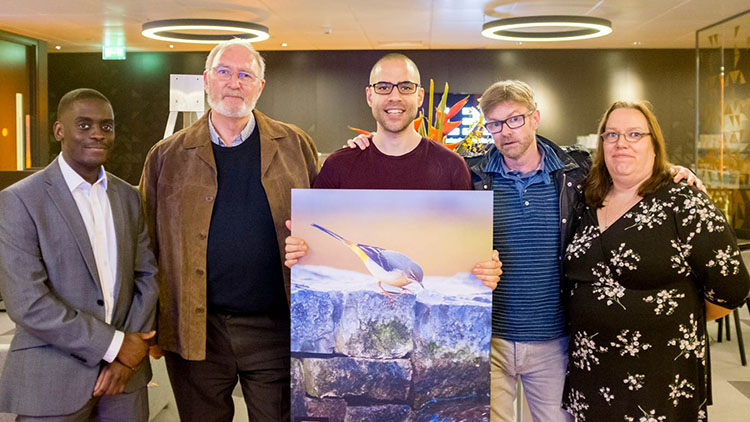 Middle with 'Curious Wagtail' is Christopher Andreou. Far left Lugano Kapembwa and judges David Catteridge, Peter Matthews and Lesley Johnson. Pic: Canary Wharf press office