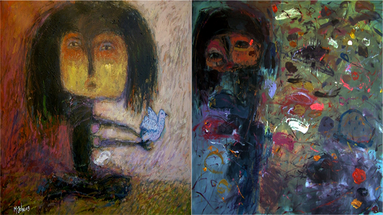 """""""Freedom"""" & """"Boy & Fishes"""", Acrylic on canvas, 90x70cm- Mohamed Joha, 2009, 2010. Pic: Arts Canteen"""