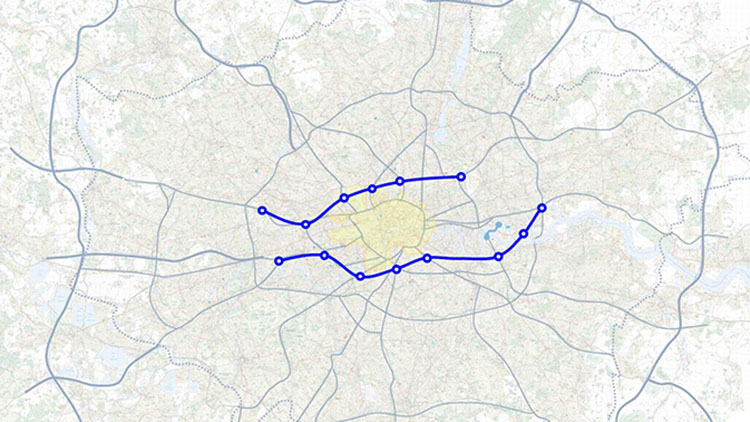The proposed routes of the two new tunnels. Pic: Richard Wood/ Mayor's Press Office