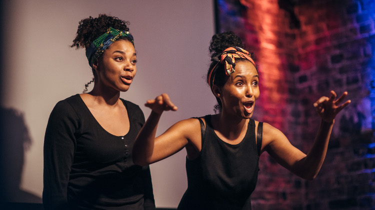 "Sapphire Joy (left) and Hermon Berhane (right) performing an extract from ""Liberian Girl"". Pic: David Monteith-Hodge"