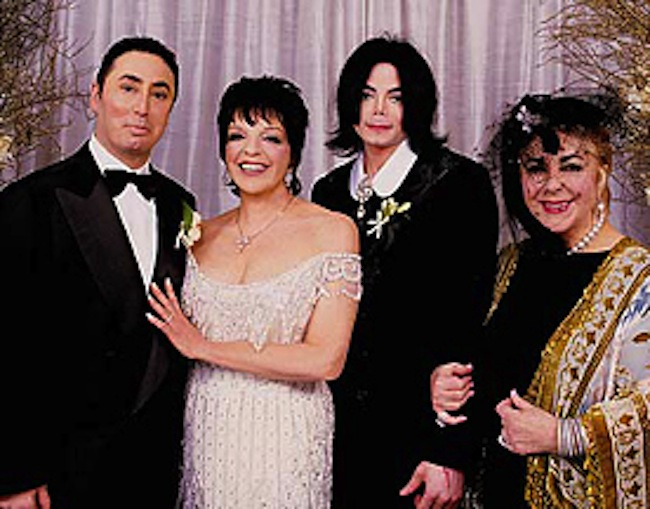 Gest's wedding to Liza Minelli. Left to right: David Gest, Liza Minnelli, best man Michael Jackson, and maid of honour Elizabeth Taylor