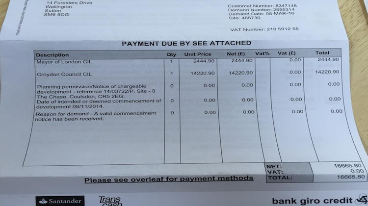 Bill received from Croydon council. Pic: Shima Begum