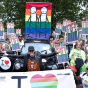 Stik banner at London Pride march 2016 Credit: Hackney Council