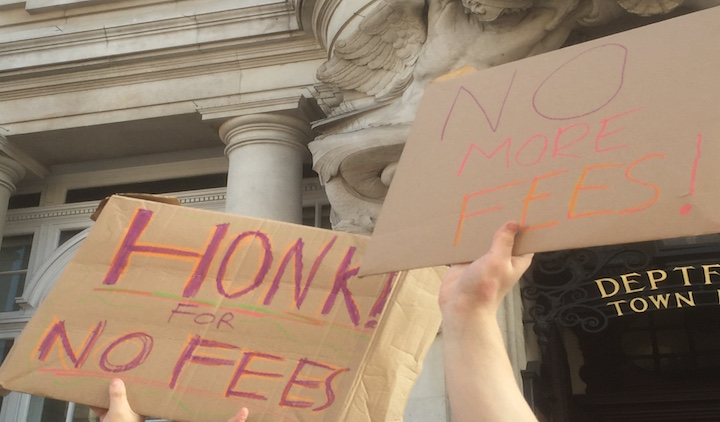 Students protest an increase in tuition fees at Goldsmiths. Pic: Paden Vaughan