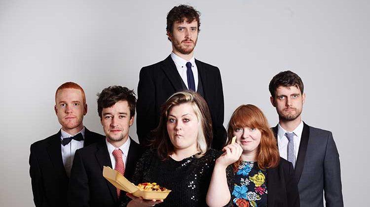 Left to right: Adam Drake, Ben Rowse, Edward Eaton, Kiri Pritchard-McLean, Kath Hughs, James Meehan of Suspiciously Cheap Comedy. Pic: Suspiciously Cheap Comedy