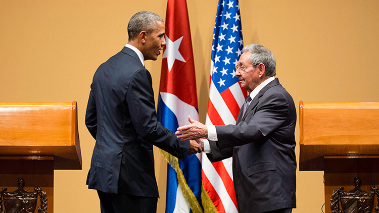 Barack Obama and Raul Castro meet in Havana March 22, 2016. Pic: Wikipedia