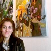 Alvarez in front of her work, 2017. Pic; Julia Alvarez.