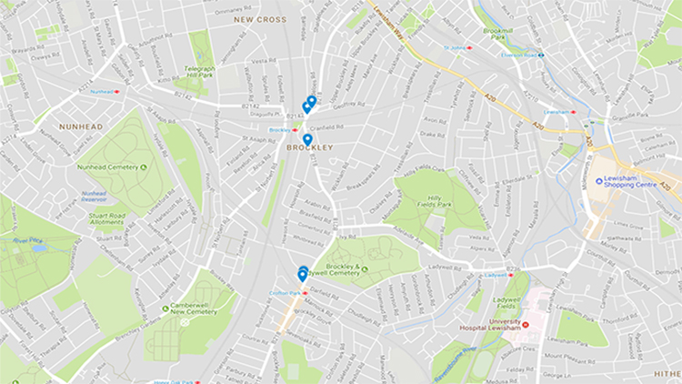 Map of Brockley Attacks