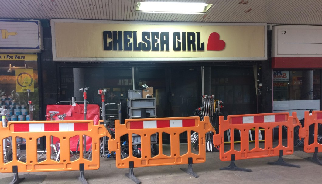 Chelsea Girl clothing store at 80s Black Mirror set