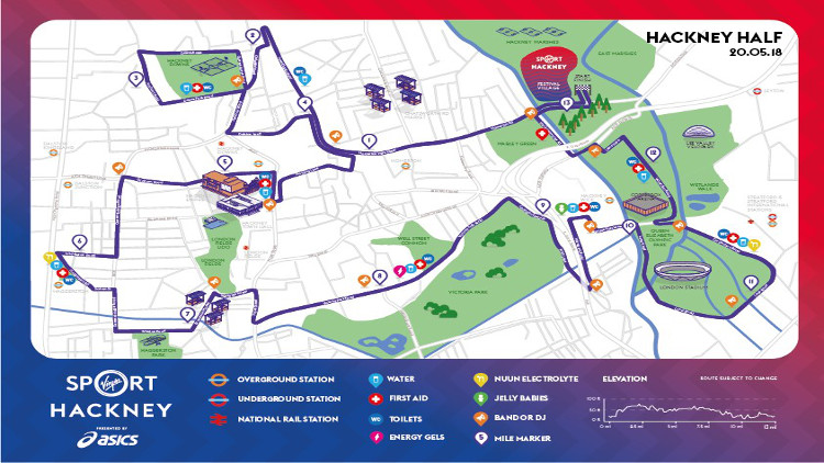 Hackney Half race route 2018