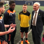 Vince Cable and Lucy Salek at Millwall FC. Pic: Liberal Democrats
