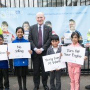 Mayor John Biggs with school children fighting air pollution. Pic: Tower Hamlets Council