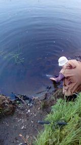 Eamonn Mag Raibhaigh Foxford releasing a worm caught salmon on EMAA 27.5.18