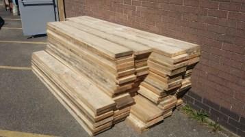 Reclaimed wooden planks