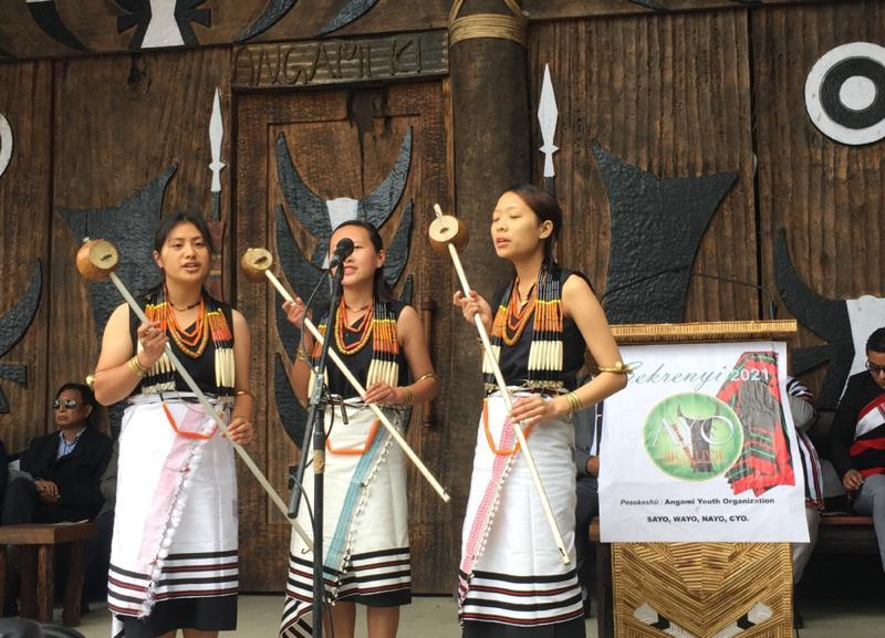 Pfuchazunuo from Kohima village performing a folk song