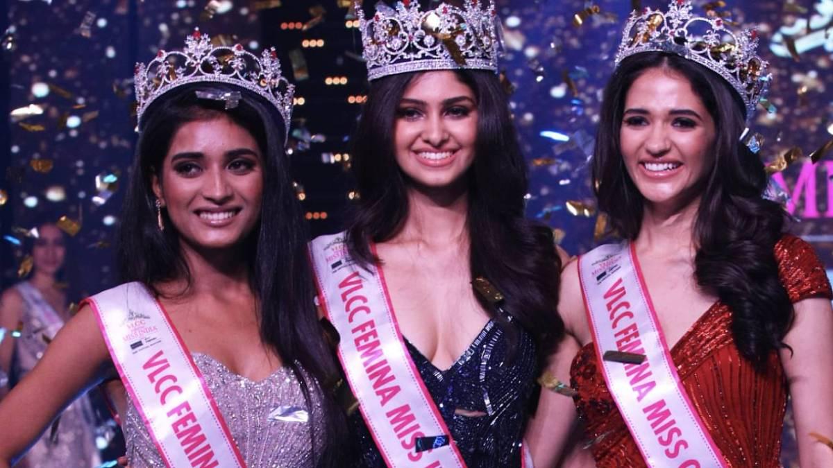 Manasa Varani was crowned as the winner of VLCC Miss India 2020 by Suman Ratan Singh Rao who was the winner of Miss India 2019