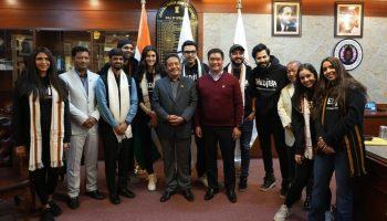 The team of Bhediya with Arunachal CM Pema Khandu