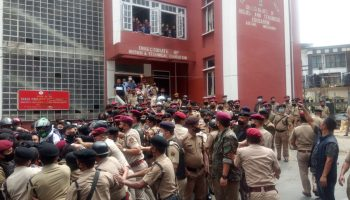 Mizo Students' Union staged a massive protest over appointment of a non-local Education HOD