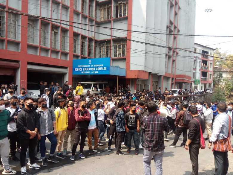 Mizo Students' Union staging a protest on Tuesday