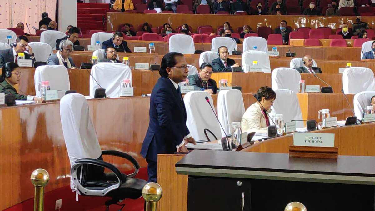 Conrad Sangma addressing the Meghalaya Assembly