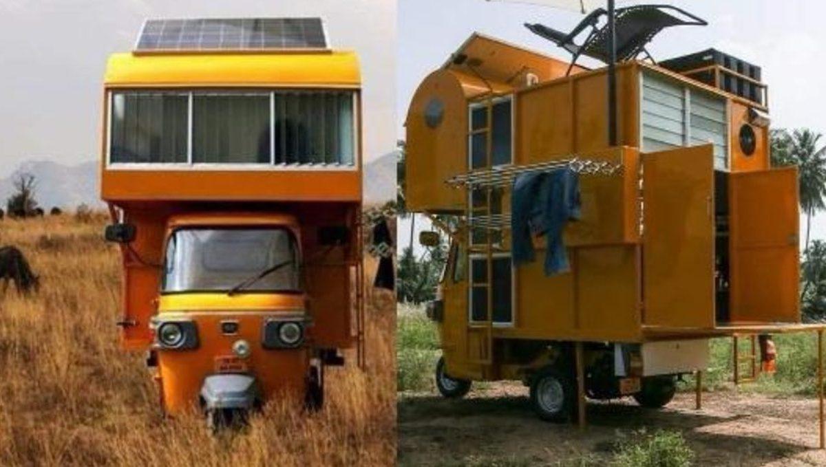 Arun Prabhu's auto rickshaw mobile home