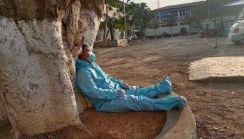 Manipur frontline health worker takes a break