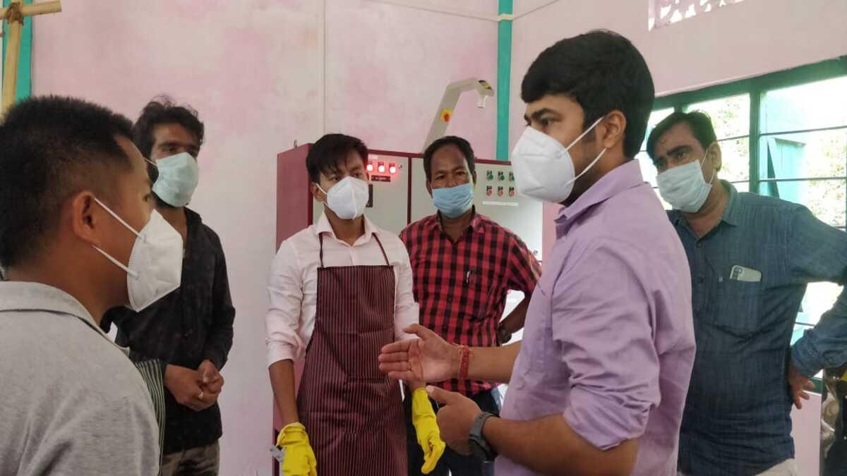 Changlang's deputy commissioner Devansh Yadav inspecting a food processing unit