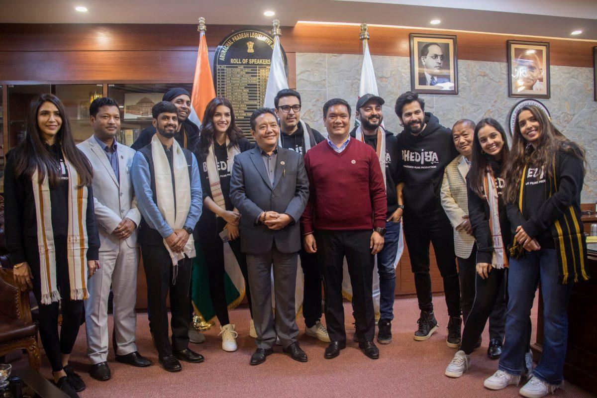 The team of Bhediya with Arunachal Pradesh chief minister Pema Khandu.