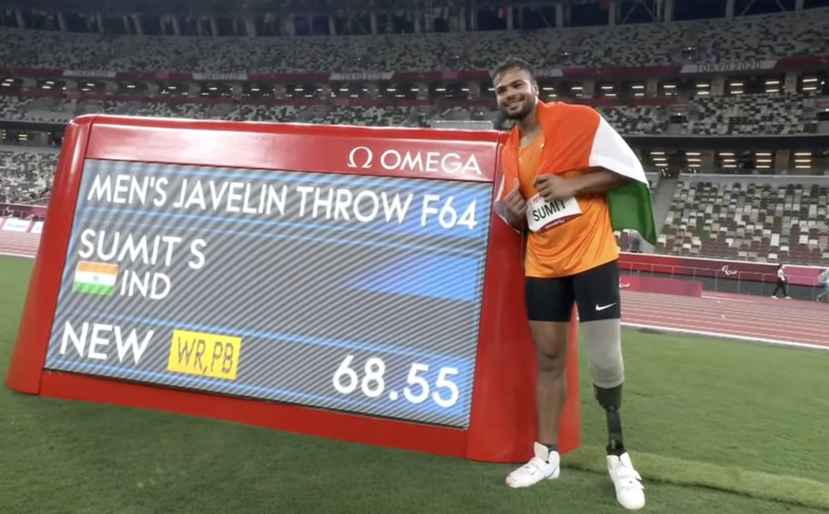 Sumit Antil wins India's 2nd gold at Paralympics with world record throw of 68.55m