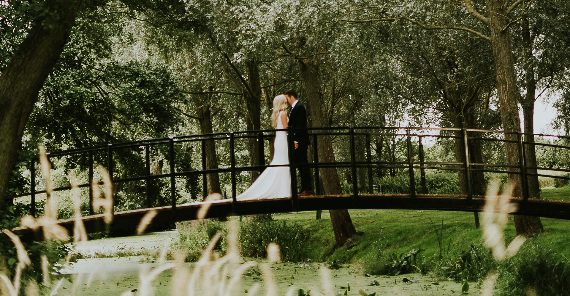 Romantic bridge at Easton Grange wedding venue