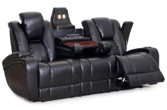Brown Leather Recliner Cup Holder