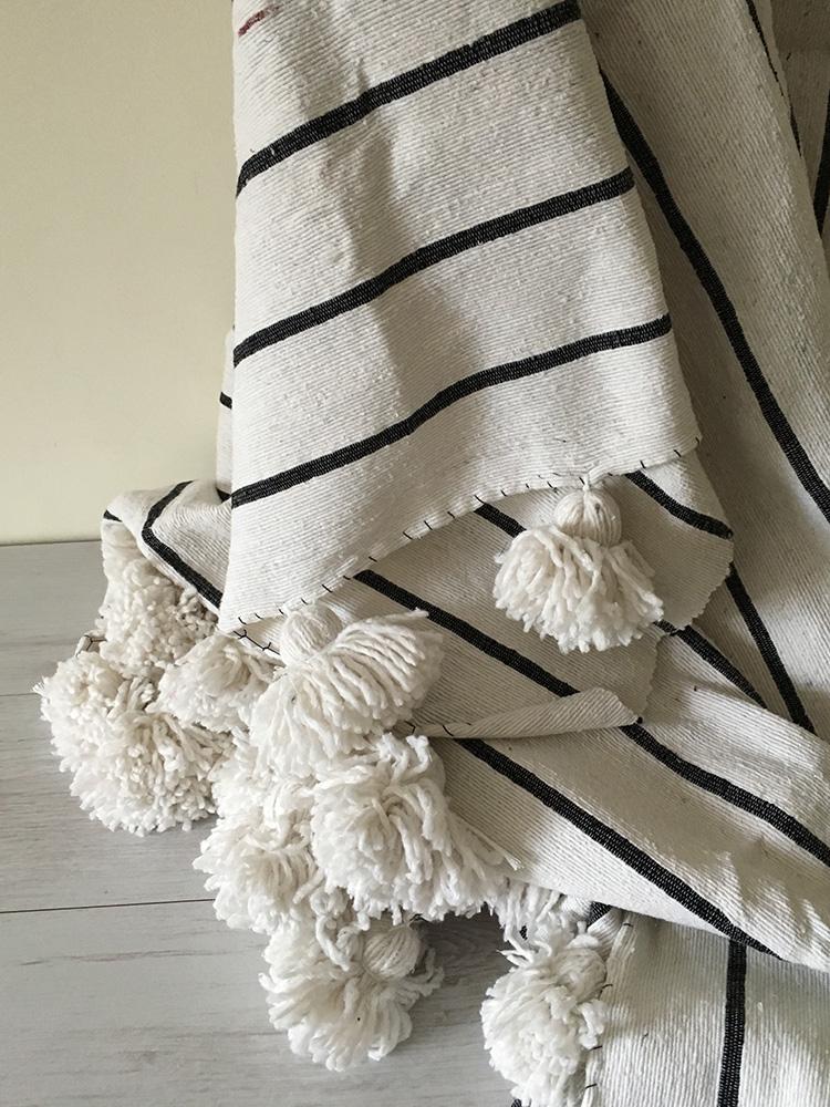 East Unique Moroccan Pom Pom Blanket EcruBlack