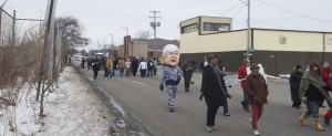 Snyder Strolling Past Buick City