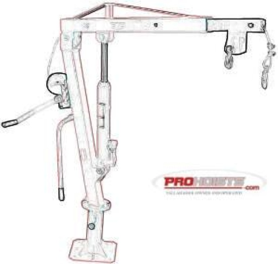 2000 lb Galvanized Truck Hoist Davit Jib With Manual Winch
