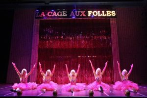 "Les Cagelles Christopher Aguilar, DT Matias, Jonathan Kim, Alex Sanchez, and Carlos Chang in East West Players' musical production ""La Cage Aux Folles."" Photo by Michael Lamont."
