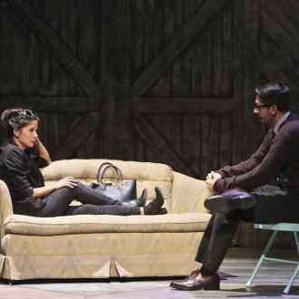 Jessica Jade Andres as Hiro and Daniel Rubiano as Larry in East West Players' West Coast premiere of Kentucky by Leah Nanako Winkler. Photo by Michael Lamont.