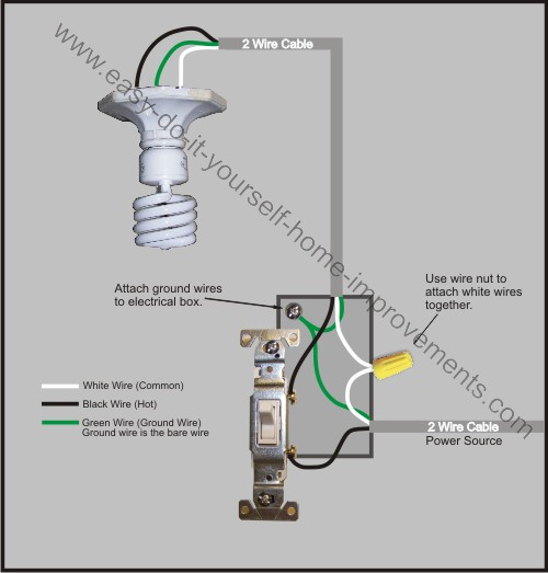 one way light switch wiring diagram