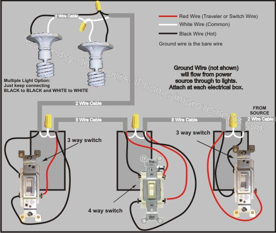 wiring diagram for multiple lights on a three way switch