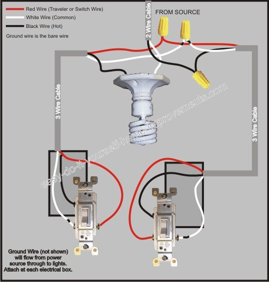how to wire a three way switch diagram wiring 2 lights off one 3