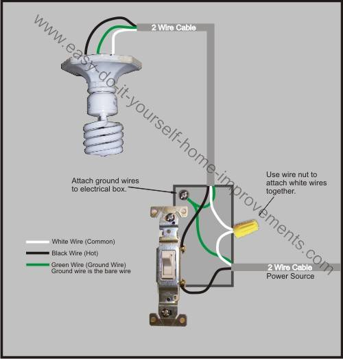 wiring diagram for single pole switch to light